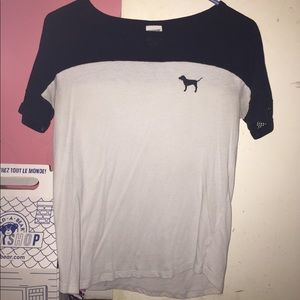 White and Black, PINK shirt (M)